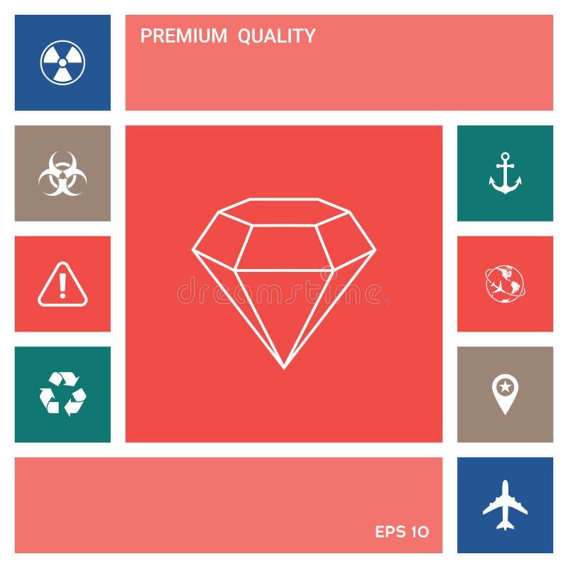 Diamentu znak Biżuteria symbol Klejnotu kamień Płaski prosty projekt - kreskowa ikona ilustracja wektor
