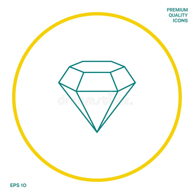 Diamentu znak Biżuteria symbol Klejnotu kamień Płaski prosty projekt - kreskowa ikona ilustracji
