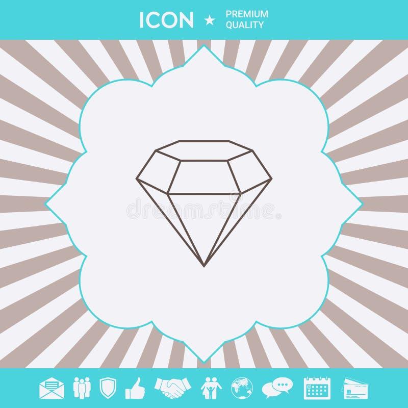 Diamentu znak Bi?uteria symbol Klejnotu kamie? P?aski prosty projekt - kreskowa ikona royalty ilustracja
