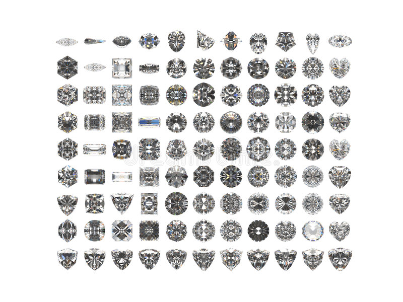 diamenty odizolowane białe tło royalty ilustracja