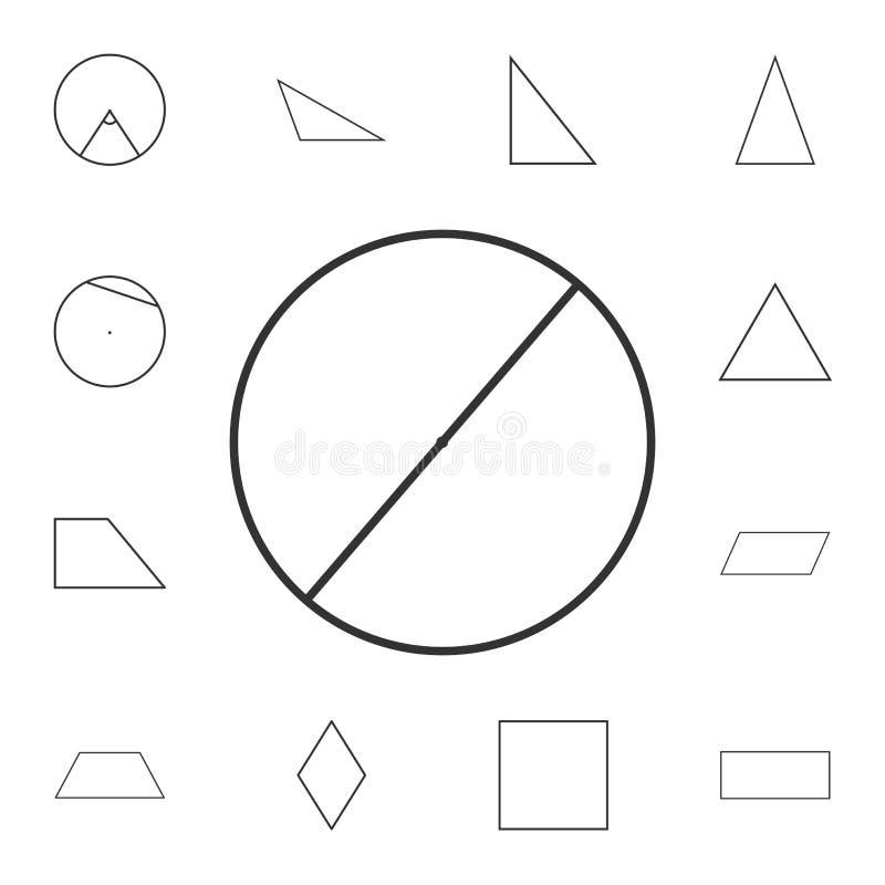 diameter av en cirkelöversiktssymbol Detaljerad uppsättning av det geometriska diagramet Högvärdig grafisk design En av samlingss vektor illustrationer