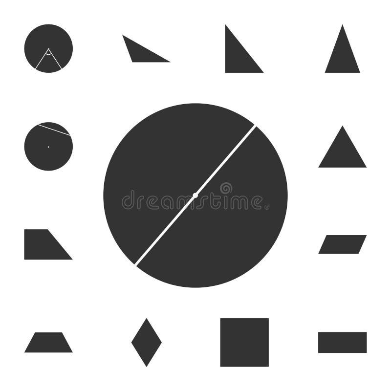 Diameter av en cirkelsymbol Detaljerad uppsättning av det geometriska diagramet Högvärdig grafisk design En av samlingssymbolerna royaltyfri illustrationer