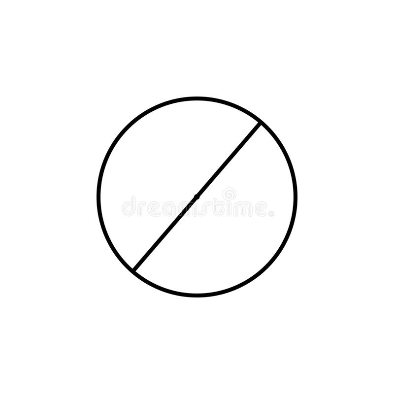 Diameter av en cirkelsymbol Geometriskt diagram beståndsdel för mobila begrepps- och rengöringsdukapps Tunn linje symbol för webs royaltyfri illustrationer