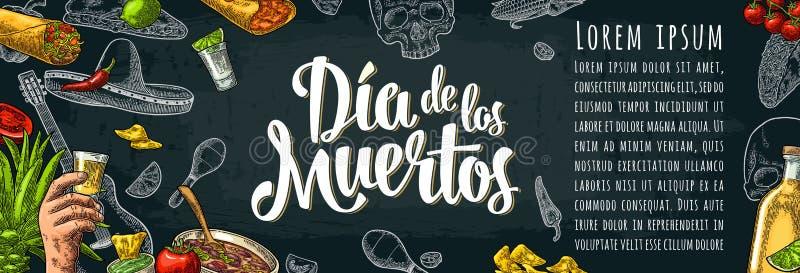 Diameter de los Muertos märka och mexikansk traditionell mat royaltyfri illustrationer