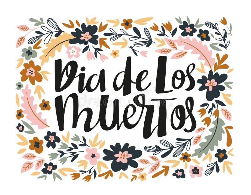 Diameter de los muertos - räcka det skriftliga bokstäverferiecitationstecknet i den blom- kransen också vektor för coreldrawillus stock illustrationer