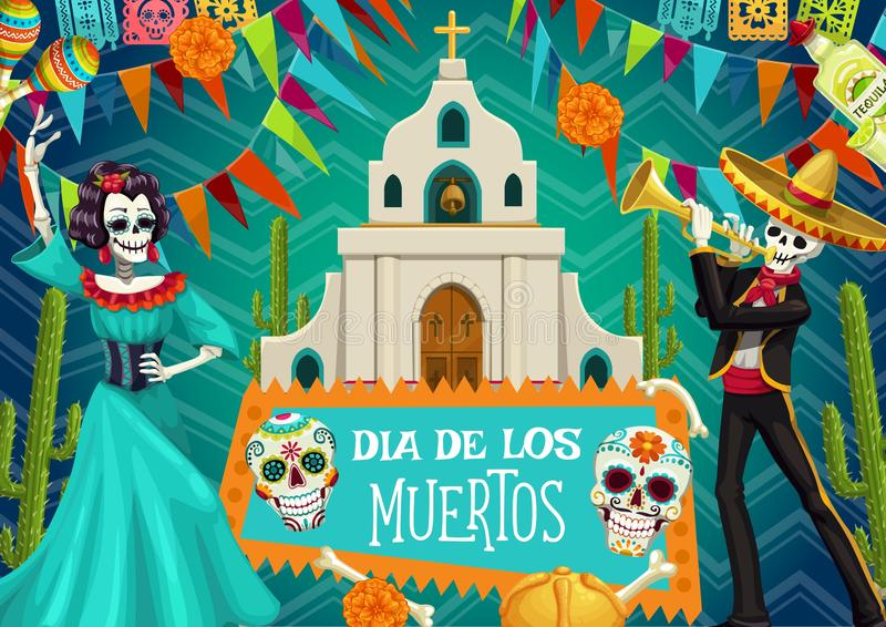 Diameter de los Muertos Spanjor dag av döda skelett vektor illustrationer