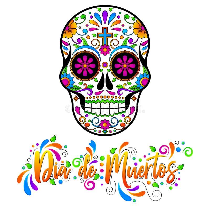 Diameter de muertos, mexicanska sockerskallar, dag av den döda allhelgonaaftonvektorillustrationen stock illustrationer