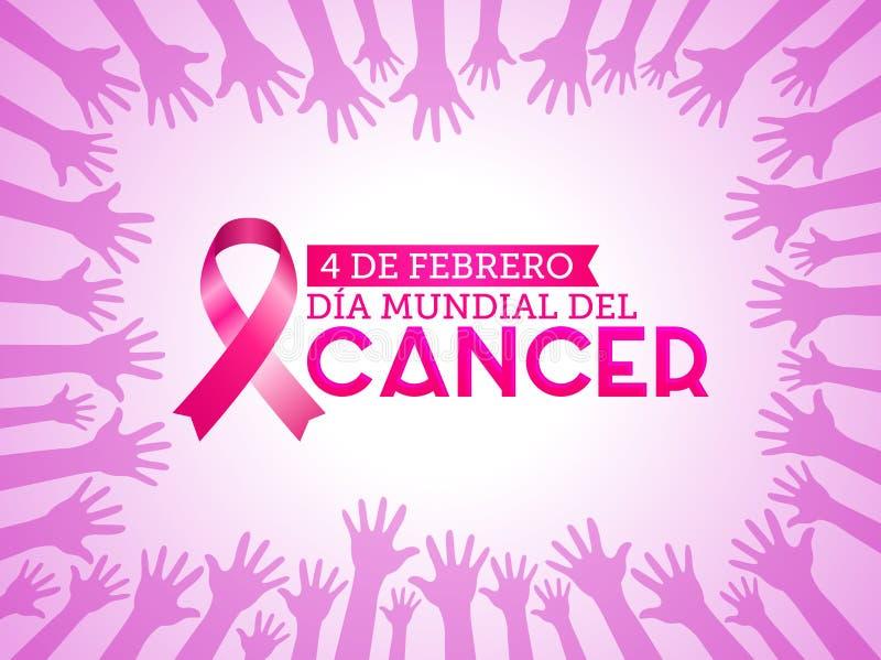 Diameter mundial del Cancer - den februari för världscancerdagen 4 spanjoren smsar Det rosa bandet med färger räcker upp bakgrund stock illustrationer