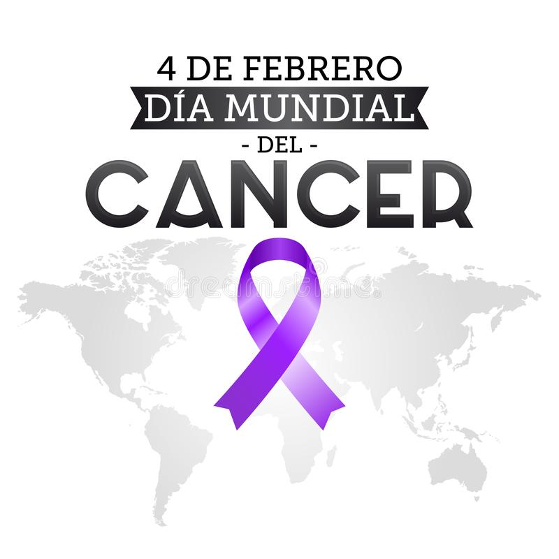 Diameter mundial del Cancer, februari för världscancerdag 4 spansk text Band och världskarta royaltyfri illustrationer