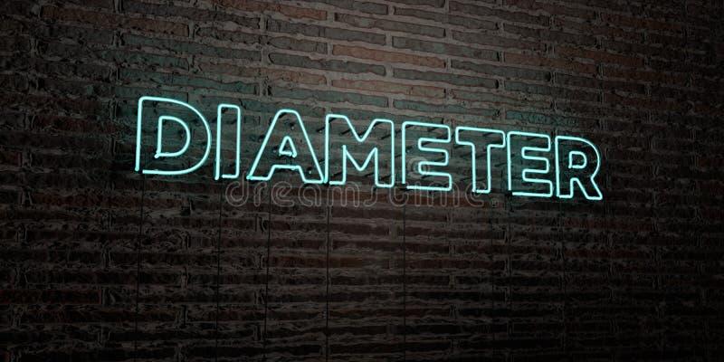 DIAMETER - realistiskt neontecken på bakgrund för tegelstenvägg - 3D framförd fri materielbild för royalty vektor illustrationer