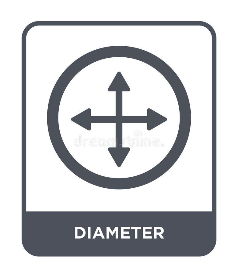 diameterpictogram in in ontwerpstijl diameterpictogram op witte achtergrond wordt geïsoleerd die eenvoudige en moderne vlakte van vector illustratie
