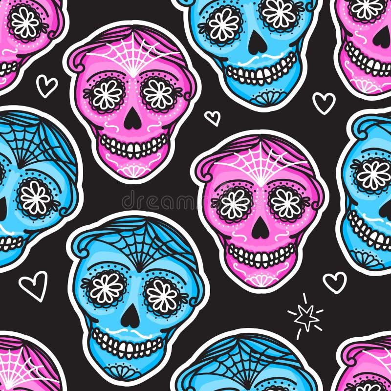 Diametro de los muertos del segno di Calavera Giorno messicano dei morti Reticolo senza giunte Donna darwing dell'illustrazione d illustrazione di stock