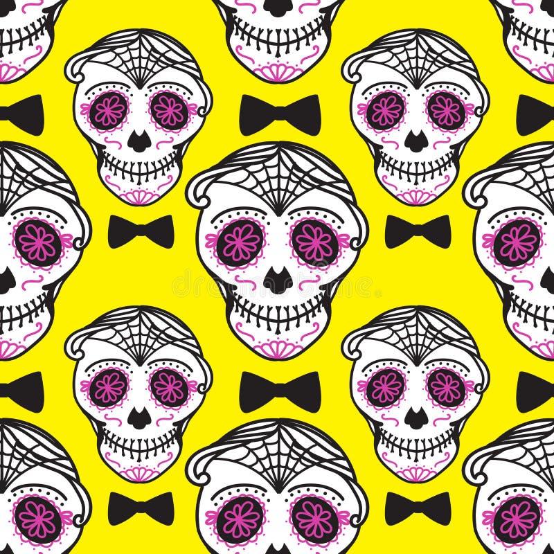 Diametro de los muertos del segno di Calavera Giorno messicano dei morti Reticolo senza giunte Uomo darwing dell'illustrazione de illustrazione di stock