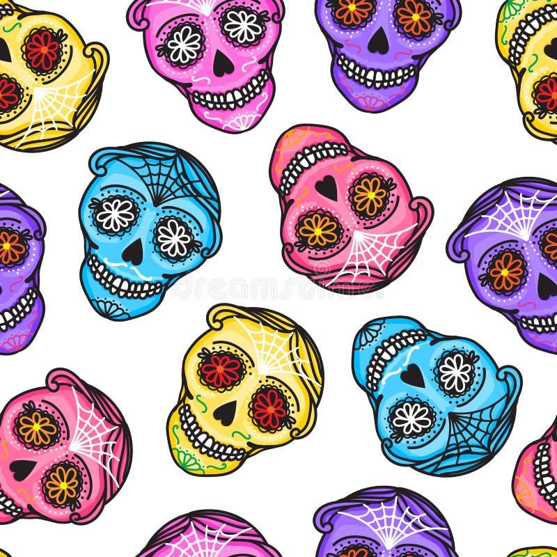 Diametro de los muertos del segno di Calavera Reticolo senza giunte Giorno messicano dei morti Donna darwing dell'illustrazione d illustrazione di stock
