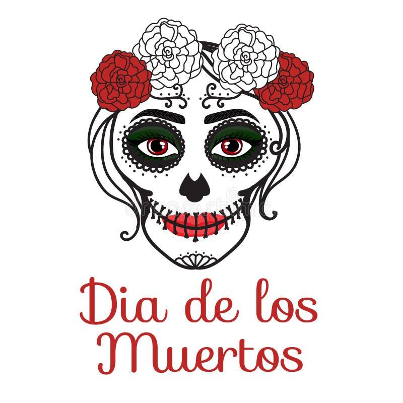 Diametro de los muertos del segno La donna di Catrina con compone del cranio dello zucchero Giorno messicano dei morti Mano dell' royalty illustrazione gratis