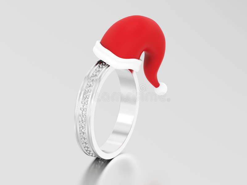 diametro della banda di nozze di impegno dell'oro bianco o dell'argento dell'illustrazione 3D royalty illustrazione gratis