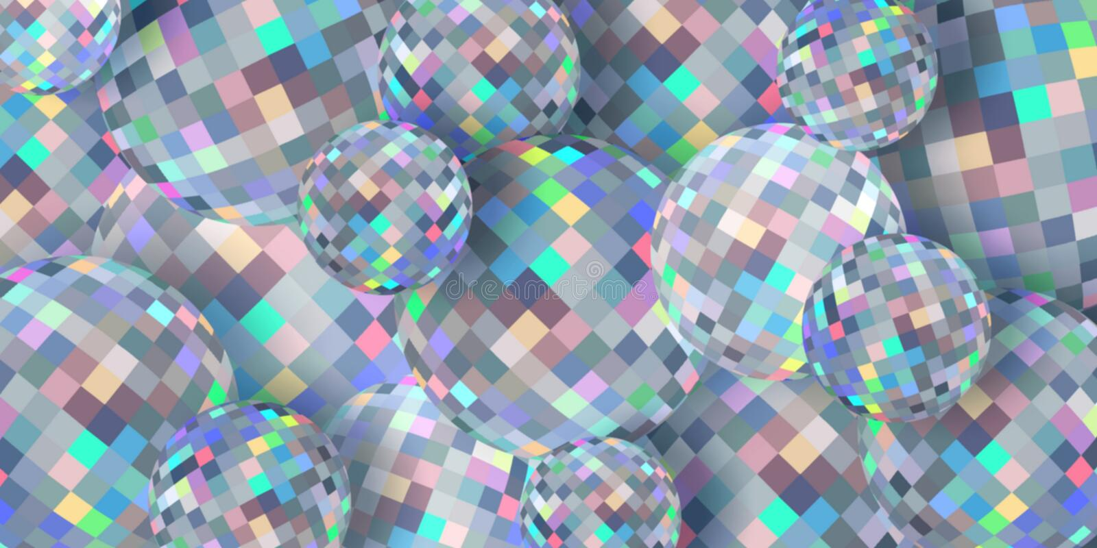 Diamind spheres 3d background abstract. Shimmer brilliance mosaic texture. Creative image for any design. Simple graphics. Great template for advertising stock illustration