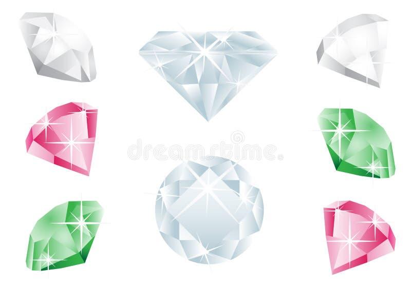 Diamond. Different diamonds isolated on the white background stock illustration