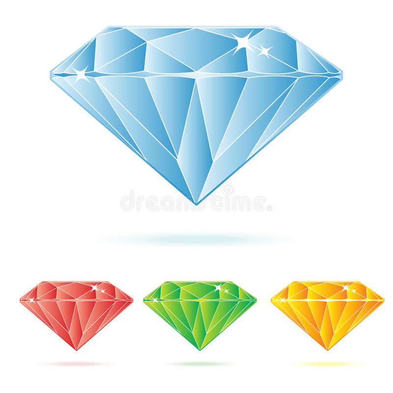 Diamond. Illustration in four different colors