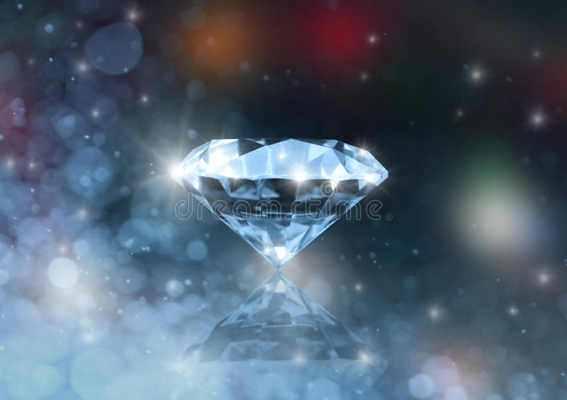 The diamond. Diamond on a colored blurred background royalty free stock photos