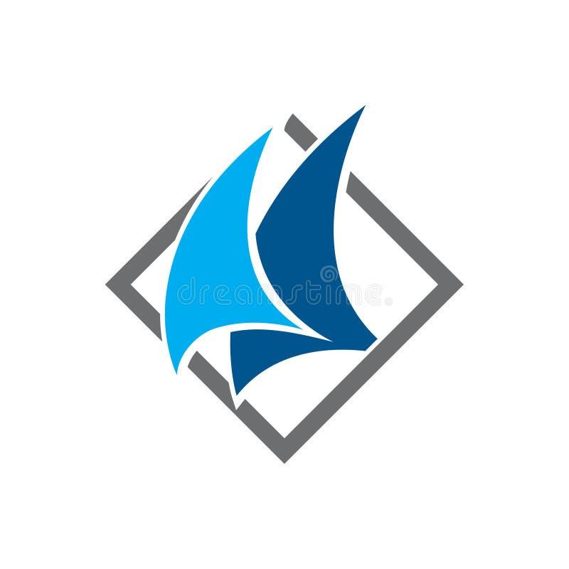 Diamond Abstract Sailboat Ship Voyage Logo Symbol libre illustration