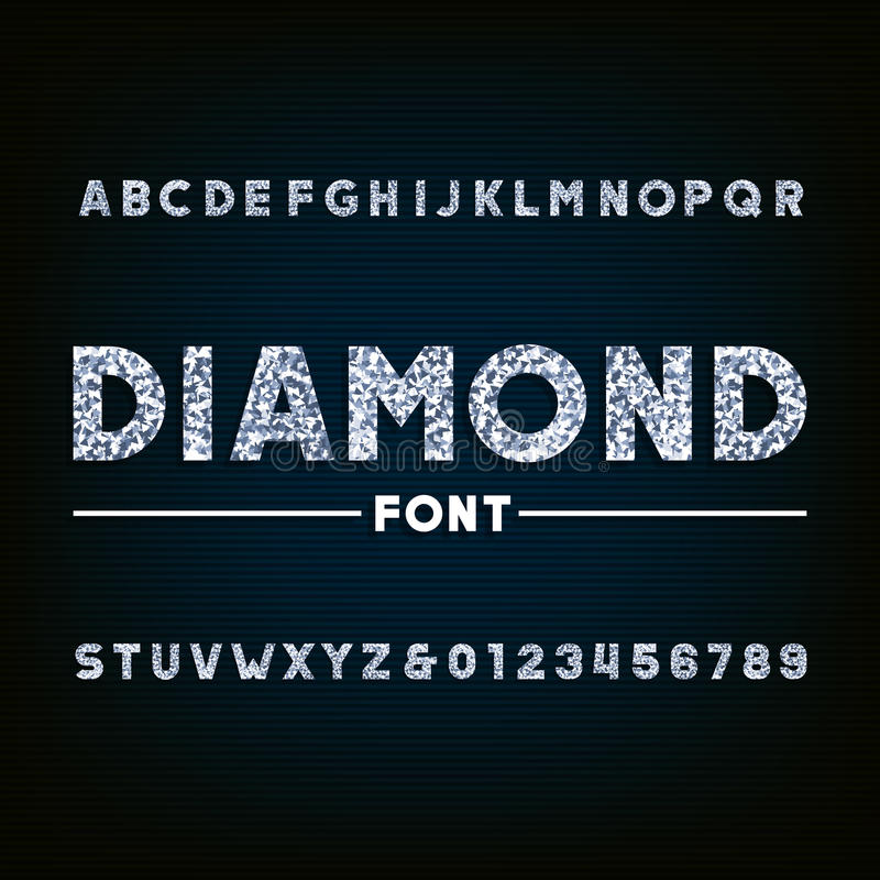 Diamond alphabet font. Brilliant letters and numbers. Stock vector typography for your design vector illustration