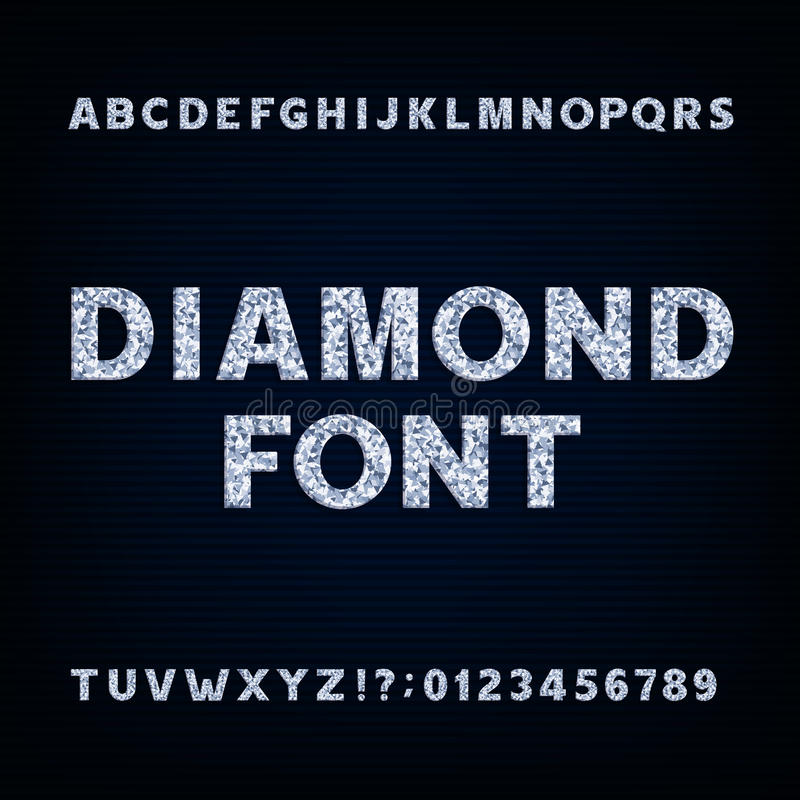 Diamond alphabet font. Brilliant letters symbols and numbers. vector illustration