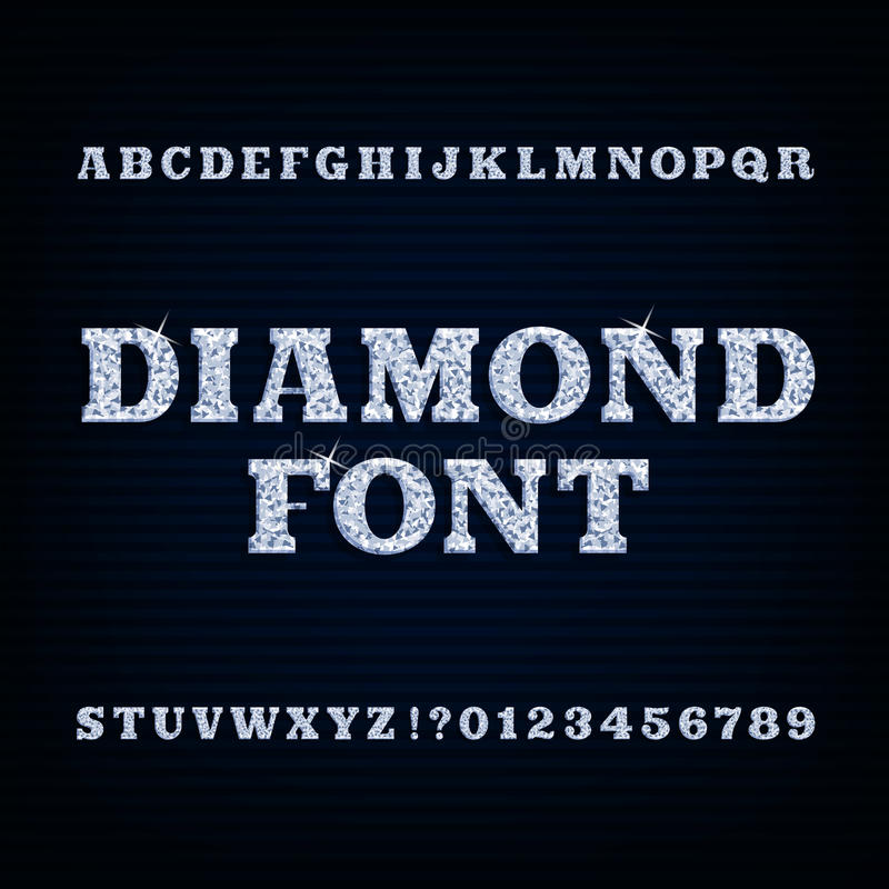 Diamond alphabet font. Brilliant type letters and numbers. Stock vector typography for your design vector illustration