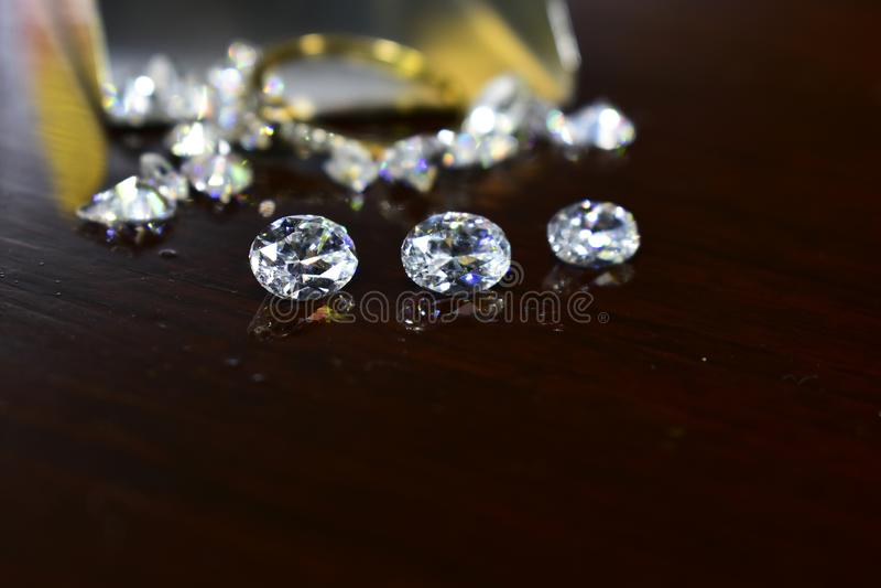Diamond As jewelry Rare and expensive, worth having possession. Hardness symbol diamond stock photo