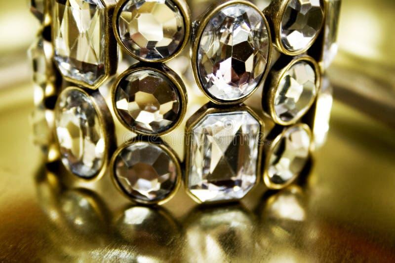Diamond bangle. Close-up of beauty diamond bracelet stock photography