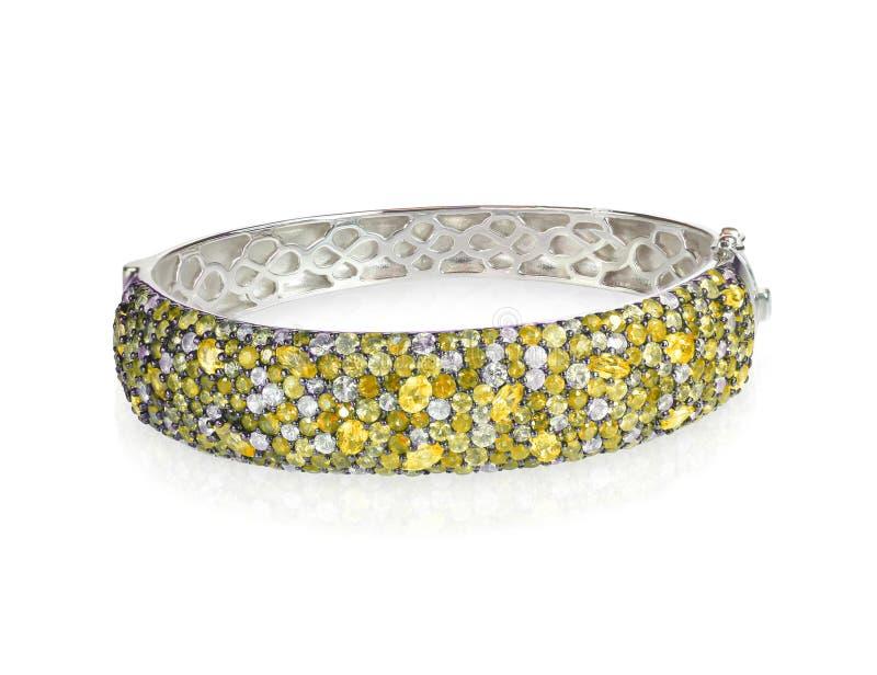 Diamond Bangle Cuff Bracelet amarelo fotos de stock royalty free