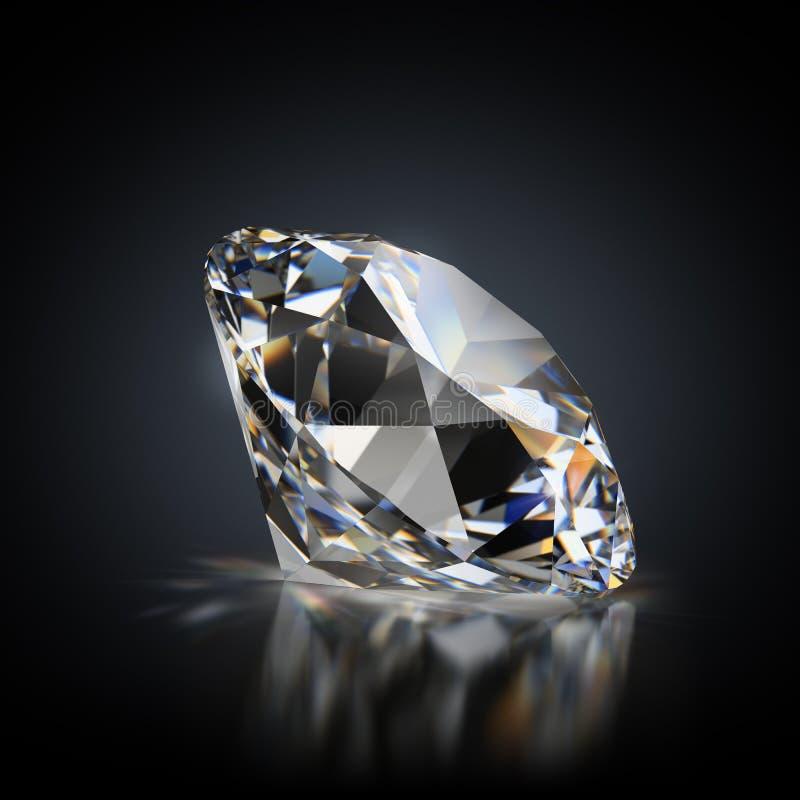Diamond on a black background. 3d generated image. Diamond on a black reflective background royalty free illustration
