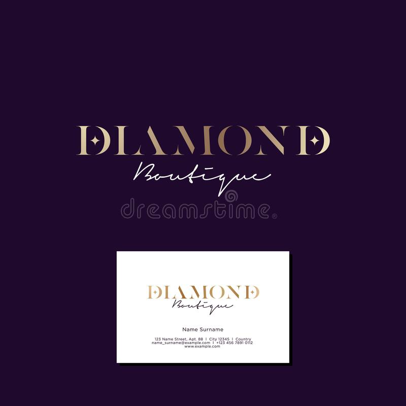 Diamond boutique logo. Elegant gold logo with stars on a dark background. stock illustration