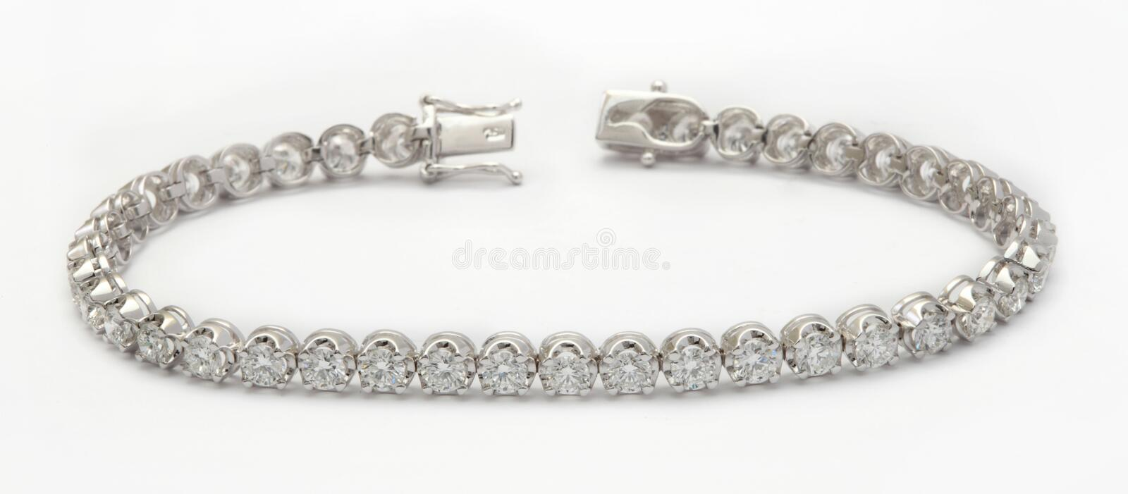 Diamond bracelet on white royalty free stock image