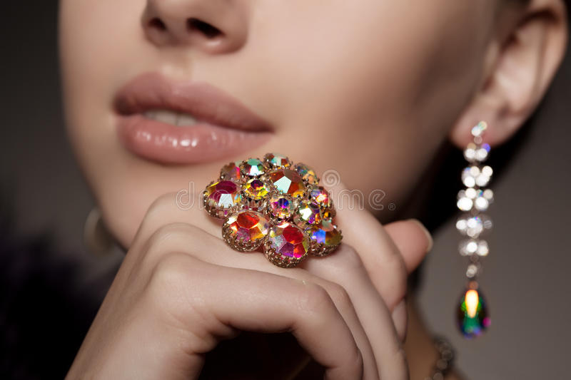 Diamond. Brilliant. Antique old vintage earrings and ring. Jewel royalty free stock images