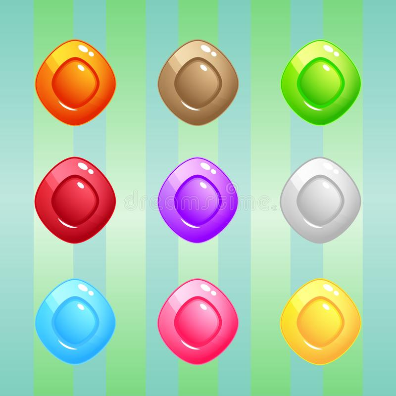 Diamond Candy Block Puzzle Colorful match 3 button glossy jelly. stock illustration