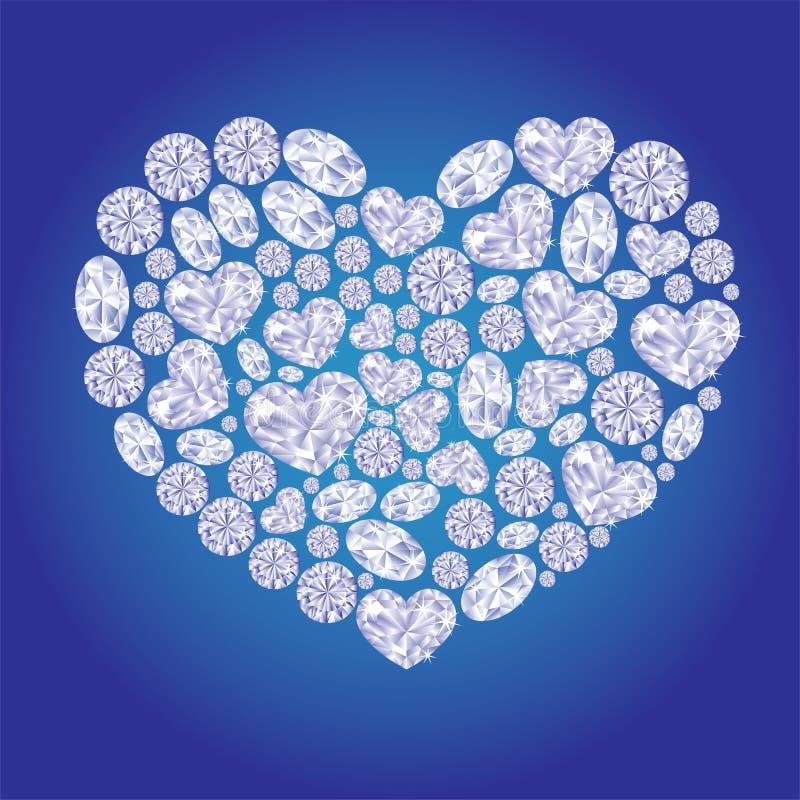 Diamond card hearts royalty free illustration