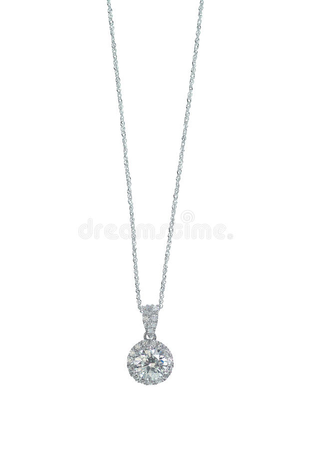 Free Diamond Chain Solitaire Bridal Necklace Stock Photo - 67510450