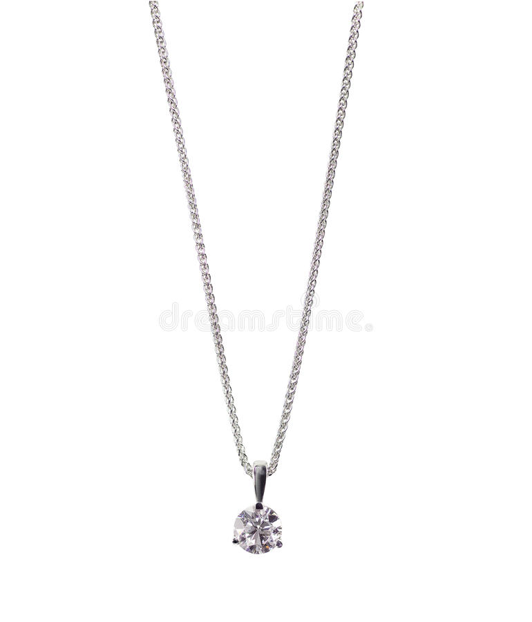 Diamond Chain Solitaire Bridal Necklace photos stock