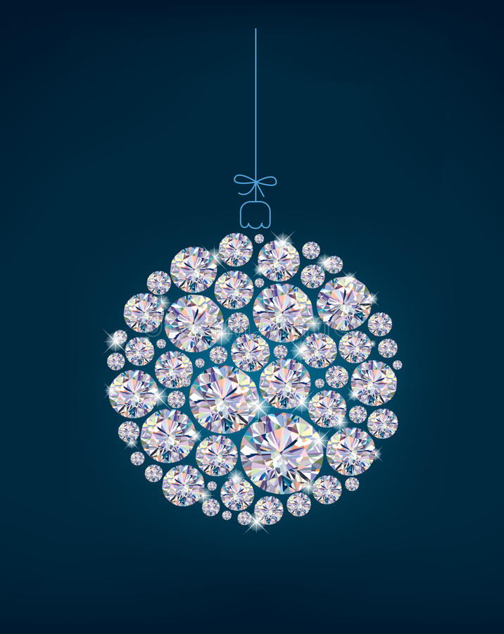 Diamond Christmas ball on blue background. Illustration contains transparent object. EPS 10 vector illustration