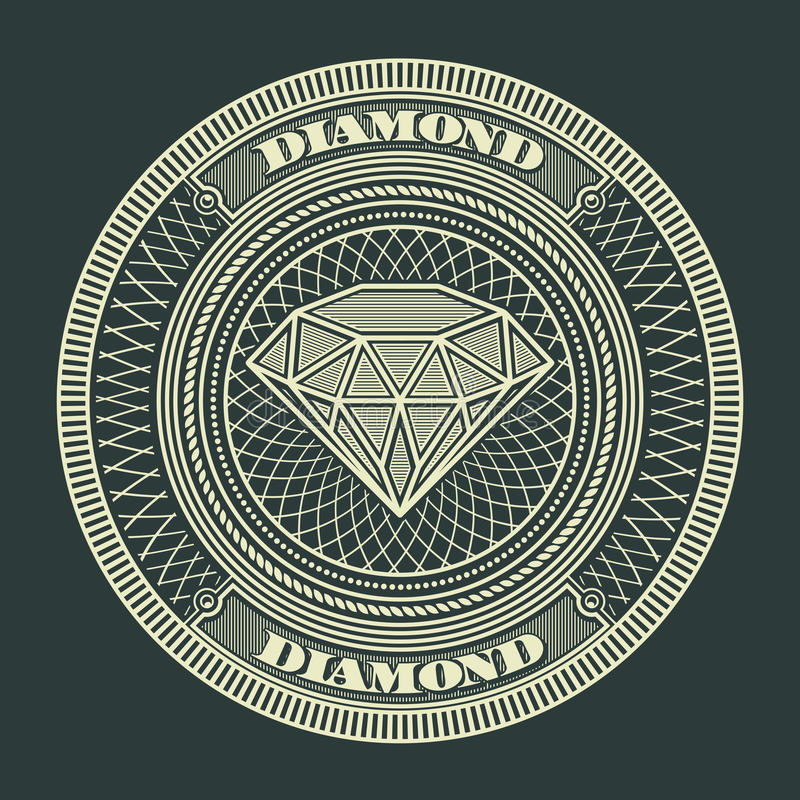 Diamond circle decorative. Decorative Circle Illustration of Diamond. Vector Illustration royalty free illustration