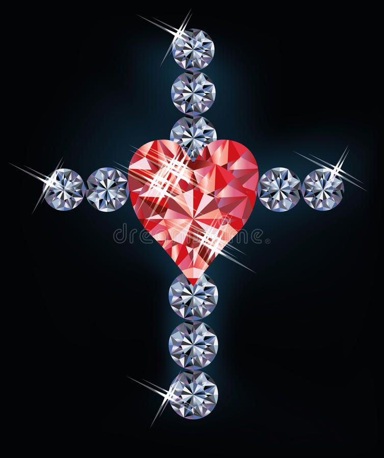 Diamond cross with ruby heart stock illustration
