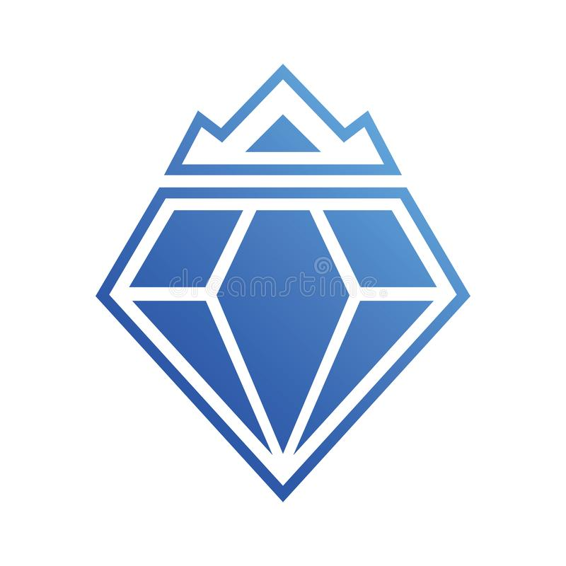 Diamond Crown Blue Logo Vector stock illustrationer