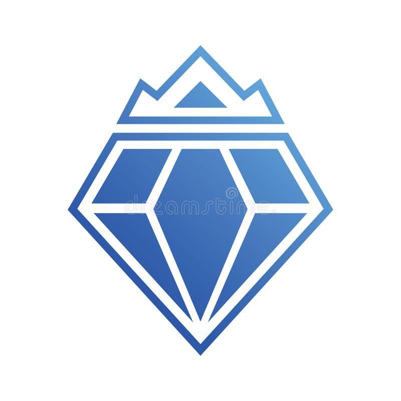 Diamond Crown Blue Logo Vector stock de ilustración