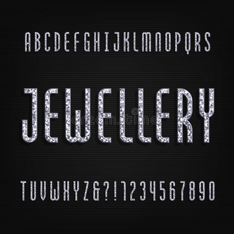 Diamond Alphabet Font  Jewellery Letters And Numbers  Stock Vector