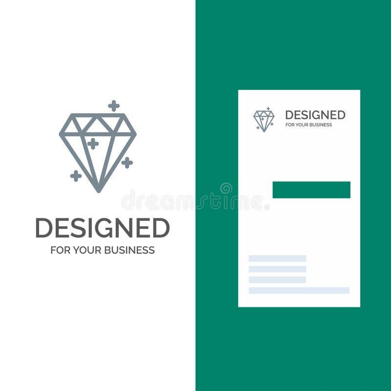 Diamond, Crystal, Success, Prize Gray Logo Design and Business Card Template ilustração do vetor
