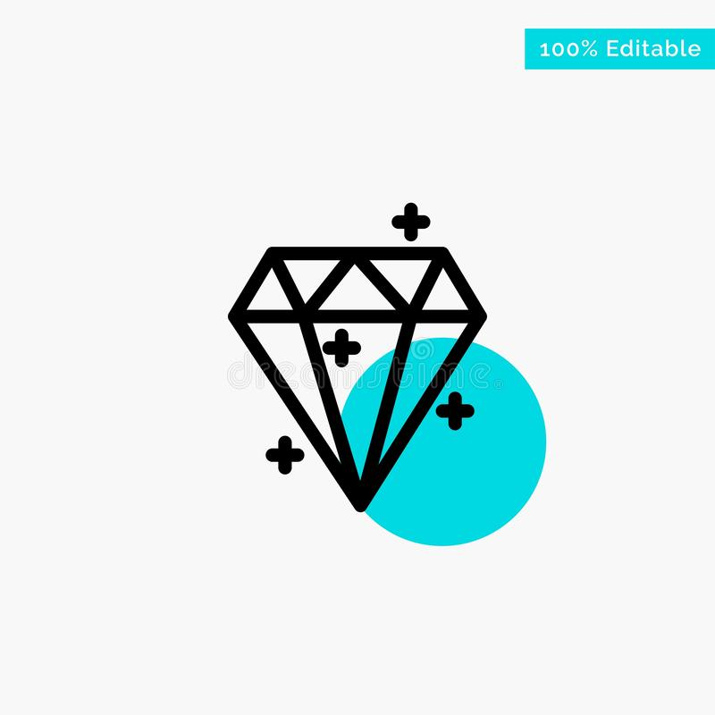 Diamond, Crystal, Success, Prize turquoise highlight circle point Vector icon vector illustration