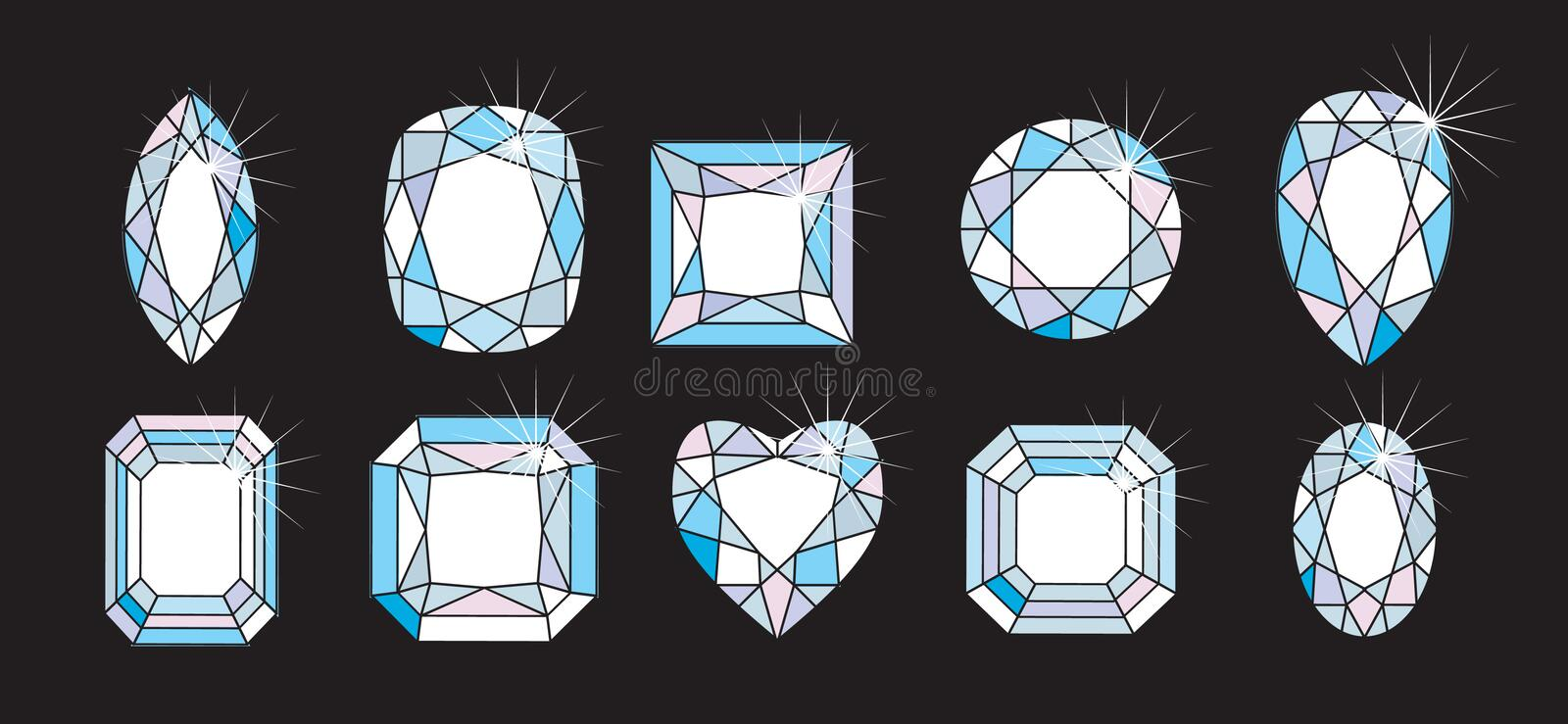 Diamond Cuts and shapes vector illustration