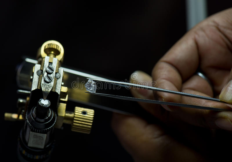 Diamond cutting and jewelry manufacturing stock photos