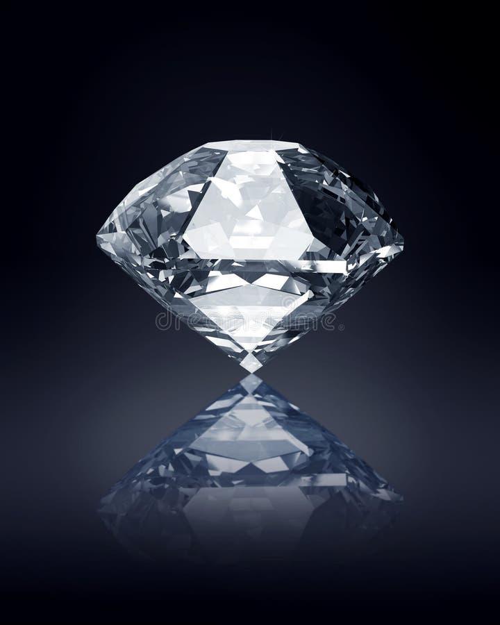 Diamond on dark background stock illustration